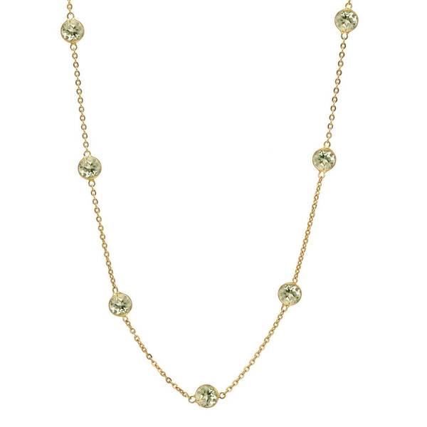 14k Yellow Gold Lemon Quartz Rope-chain Necklace