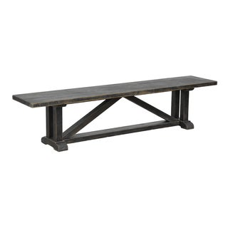Rolli Distressed Black Solid Pine Bench