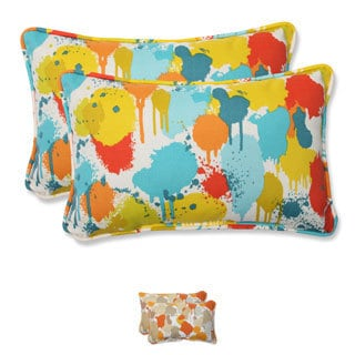 Pillow Perfect Outdoor Paint Splash Rectangular Throw Pillow (Set of 2)
