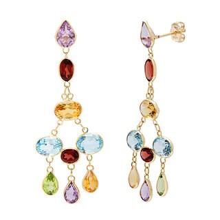 14k Yellow Gold Bezel-set Multi-gemstone Earrings