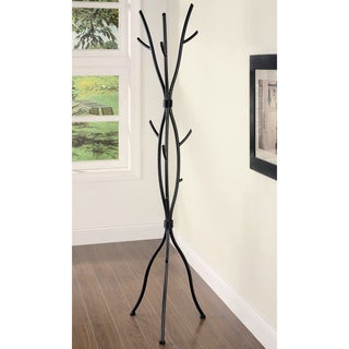Dark Brown Finish Coat Hat Rack Stand