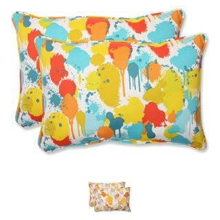 Pillow Perfect 'Paint Splash' Over-sized Outdoor Rectangular Throw Pillow (Set of 2)