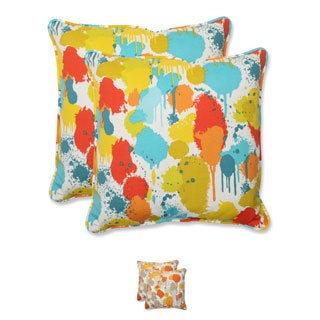 Pillow Perfect 'Paint Splash' 18.5-inch Outdoor Throw Pillow (Set of 2)