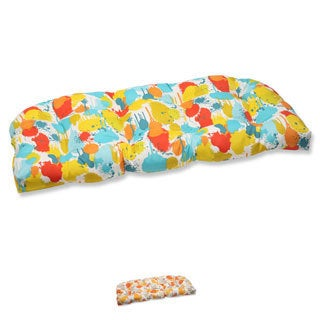 Pillow Perfect 'Paint Splash' Outdoor Loveseat Cushion