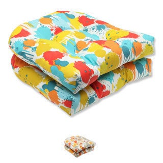 Pillow Perfect 'Paint Splash' Outdoor Seat Cushion (Set of 2)