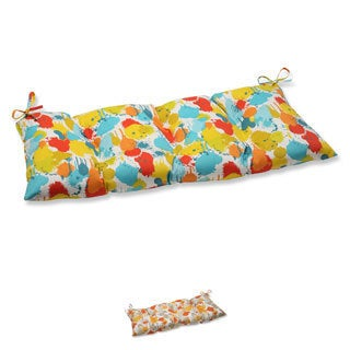 Pillow Perfect 'Paint Splash' Outdoor Tufted Loveseat Cushion