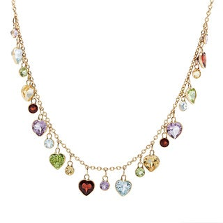 14k Yellow Gold Multi-gemstone Rope Necklace