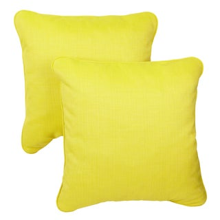 Yellow/ Green Corded Indoor/ Outdoor Square Throw Pillows with Sunbrella Fabric (Set of 2)