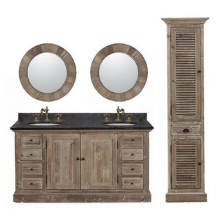 Marble Top 60-inch Double Sink Rustic Style Bathroom Vanity with Matching Dual Wall Mirrors and Linen Tower