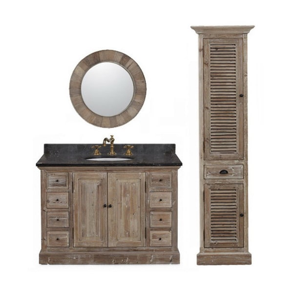 Marble Top 48 inch Single Sink Rustic Style Bathroom