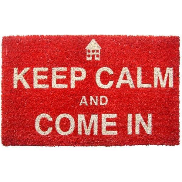 'Keep Calm' Red Non-slip Coir Doormat (1'5 x 2'4)