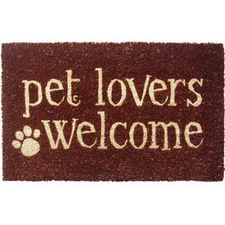 'Pet Lovers Welcome' Non-slip Coir Doormat (17x28-in)