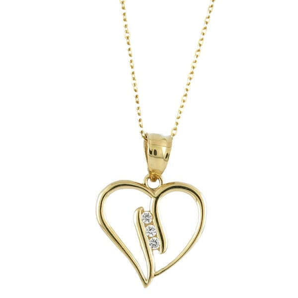 14k Yellow Gold Cubic Zirconia 3-stone Journey Open Heart Charm Necklace