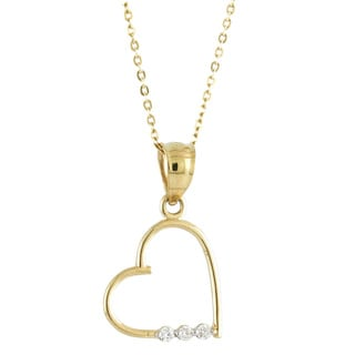 14k Yellow Gold Cubic Zirconia Tilted Heart Charm Necklace