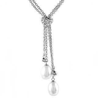 Freshwater Pearl Cubic Zirconia Heart Silver Rope Necklace (8-9 mm)