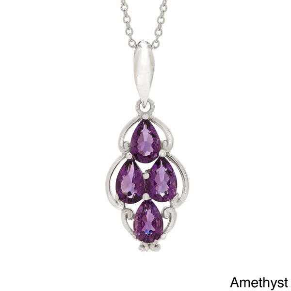 Pear-cut Gemstone Four-stone Pendant Necklace