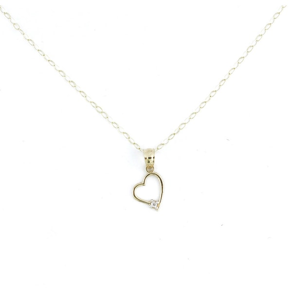14k Yellow Gold Heart Necklace with One Cubic Zirconia Stone Set Sideways