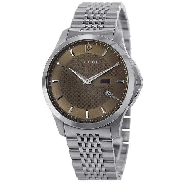 Gucci Men's YA126310 Gucci Timeless Anthracite Diamond Watch