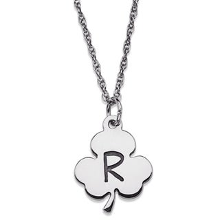 Sterling Silver Engraved Initial Clover Necklace