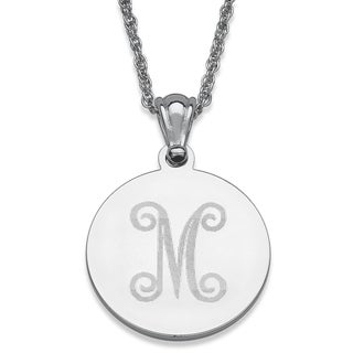 Silver Plated Engraved Initial Circle Necklace