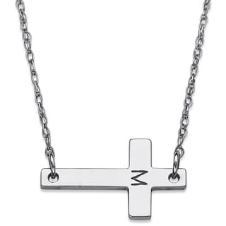 Sterling Silver Engraved Initial Cross Necklace