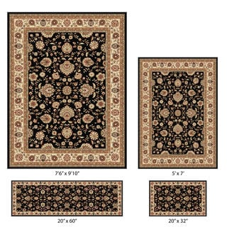 Elegance 4-piece Black Traditional Oriental Pattern Rug Set