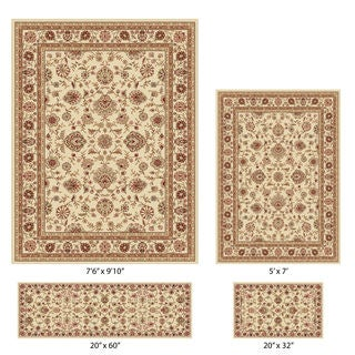 Elegance Traditional Beige and Ivory Oriental Pattern Rug Set