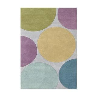 Handmade Circles Aqua/ Multi New Zealand Blend Wool Area Rug (9' x 12')