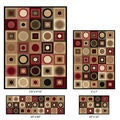 Elegance 4-piece Multi-colored Contemporary Geometric Rug Set