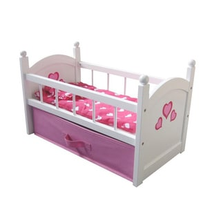The New York Doll Collection 18-inch Wooden Doll Cradle with Drawer