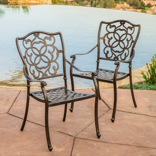 Christopher Knight Home Delray Cast Aluminum Outdoor Dining Chair (Set of 2)
