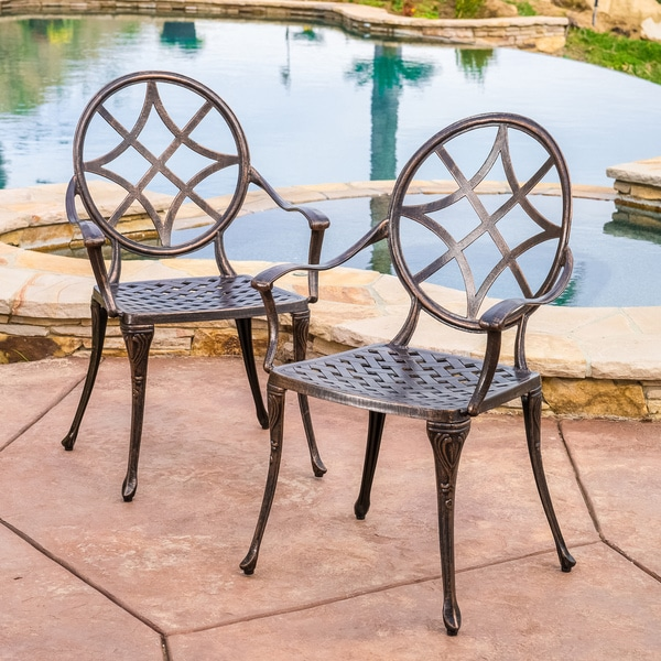 Christopher Knight Home Oviedo Cast Aluminum Copper Outdoor Dining Chair Set