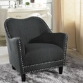 Baxton Studio Anastasia Grey Linen Modern Accent Chair