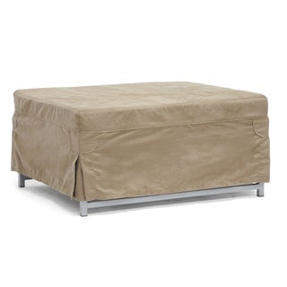 Baxton Studio Evelyn Tan Microfiber Convertible Sleeper Ottoman