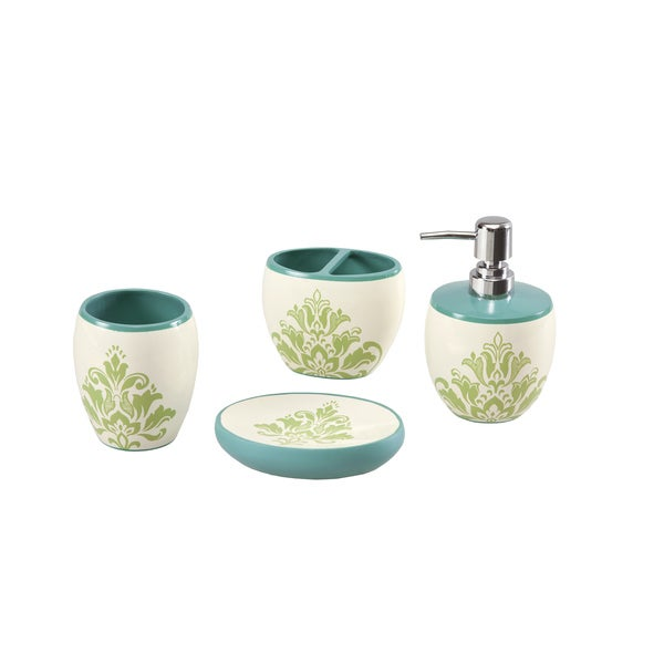 Mi Zone Paige Teal Bath Accessory 4-piece Set