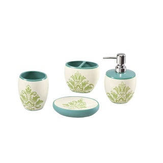 Mizone Paige Teal Bath Accessory 4-piece Set