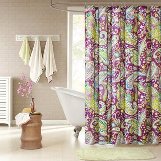 Intelligent Design Kayla Purple Paisley Shower Curtain