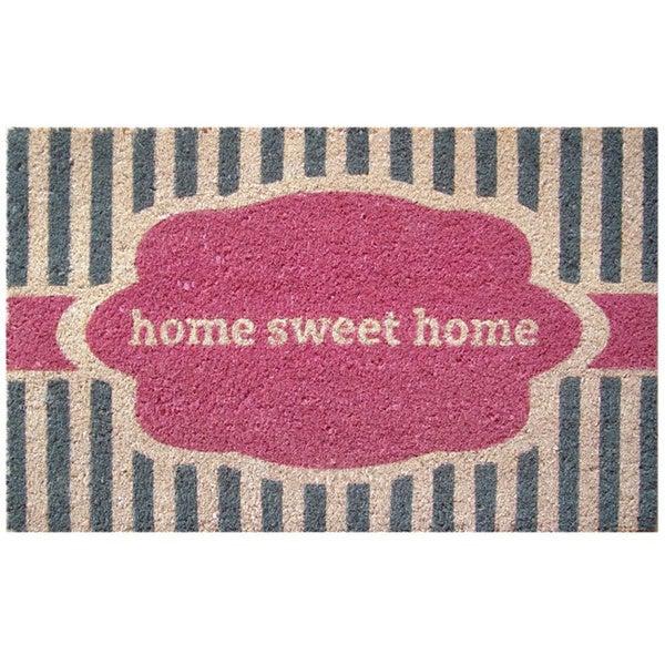 Home Sweet Home Pink Non-slip Coir Doormat