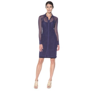 Anatomie Women's 'Mona' Navy Sheer Sleeve Surplice Dress