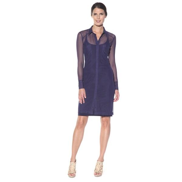 Anatomie Women's 'Mona' Navy Sheer Sleeve Surplice Dress