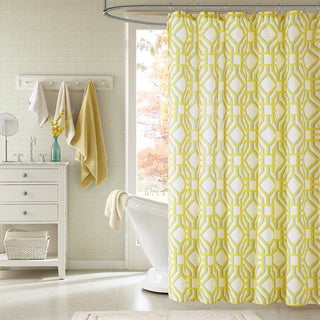 ID Alana Yellow Geometric Shower Curtain