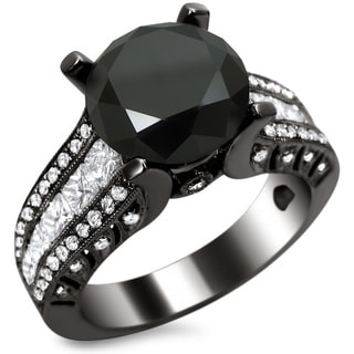 Noori 18k Black Gold 4 1/2ct TDW Certified Black and White Round-cut Diamond Engagement Ring (E, VS1-VS2)