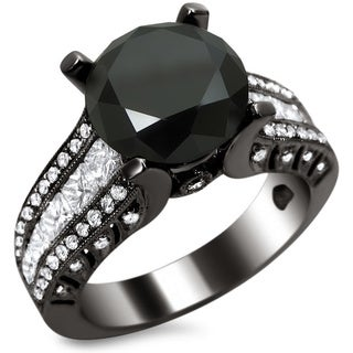 18k Black Gold 4 2/5ct TDW Certified Black and White Round-cut Diamond Engagement Ring (E, VS1-VS2)