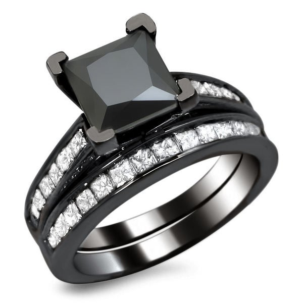 Noori 14k Black Gold 2 1/2ct TDW Certified Princess-cut Black Diamond Engagement Ring Bridal Set