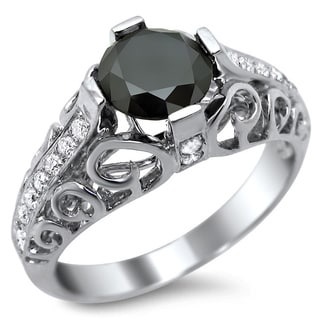 14k White Gold 1 4/5ct Certified Black Round Diamond Engagement Ring
