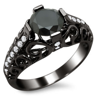 14k Black Gold 1 4/5ct TDW Certified Black/ White Round-cut Diamond Engagement Ring (E-F, VS1-VS2)