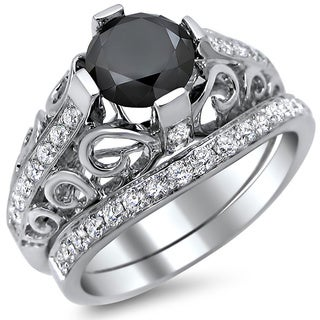 14k White Gold 2ct Certified Black Diamond Round-cut Engagement Ring Bridal Set (E-F, VS1-VS2)