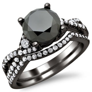 18k Black Gold 2 4/5ct TDW Certified Black/ White Round Diamond Bridal Set (E-F, VS1-VS2)