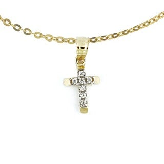14k Gold Cubic Zirconia Chain Cross Necklace