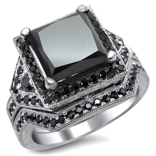 14k White Gold 4 1/4ct Certified Black Princess-cut Diamond Engagement Ring Bridal Set